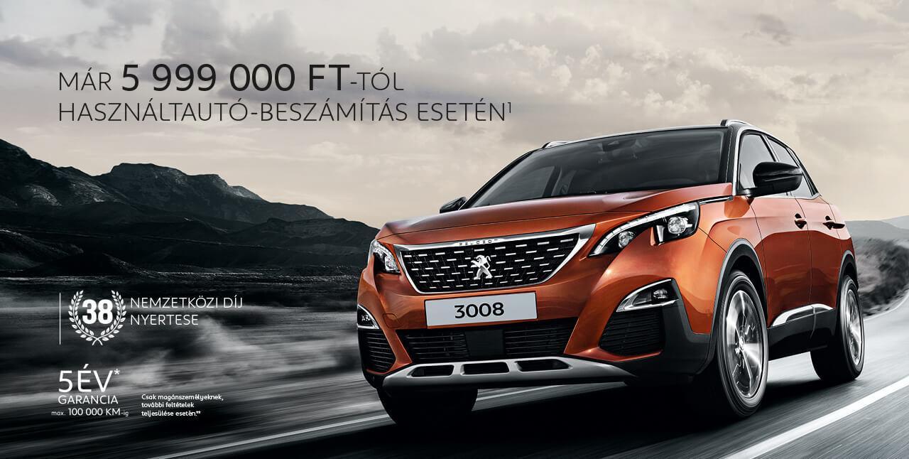 Új Peugeot 3008 SUV már 5 999 000 Ft-tól használtautó beszámítás esetén