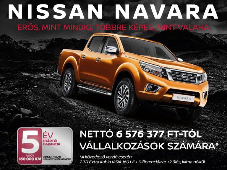 Nissan Navara: nettó 6 576 377 Ft-tól vállalkozások számára