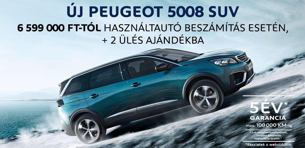 Új Peugeot 5008 - 6 599 000 Ft-tól használtautó beszámítás esetén, +2 ülés ajándékba