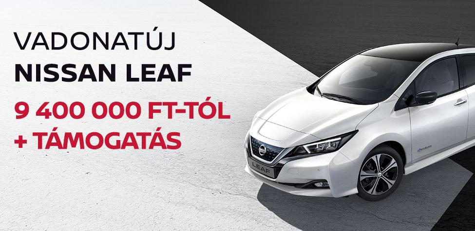 Vadonatúj Nissan Leaf 9 630 000 Ft-tól + támogatás