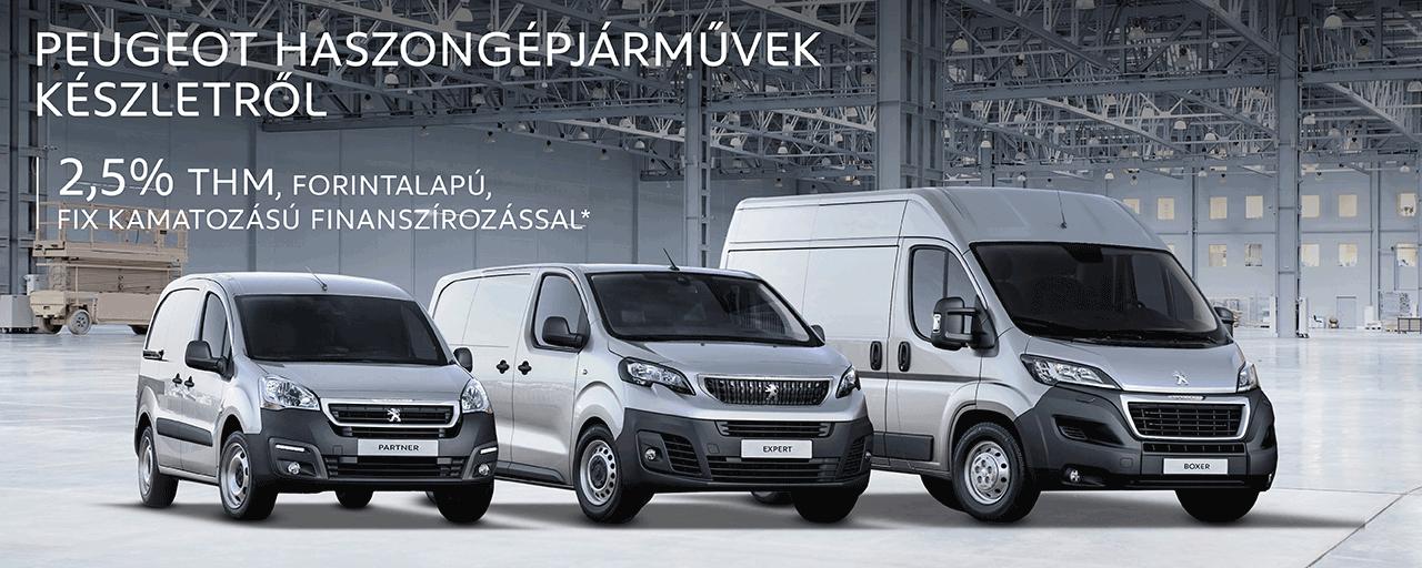 Peugeot haszongépjárművek készletről - 2,5% THM, forintalapú, fix kamatozású finanszírozással!