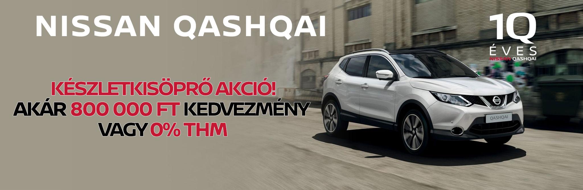 Nissan Qashqai - Készletkisöprő akció: Akár 800 000 Ft kedvezmény VAGY 0% THM